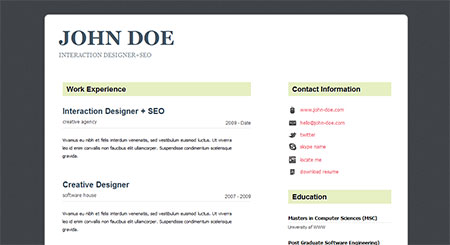Professional HTML5 CV/Resume Template: The Resume