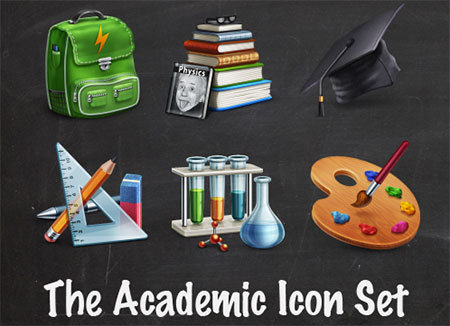 Academic Icon Set (10 Icons + PSD Source)