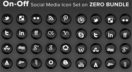 On-Off social media icon set