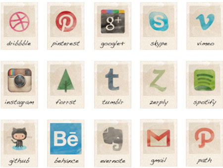 36 Vintage social icons