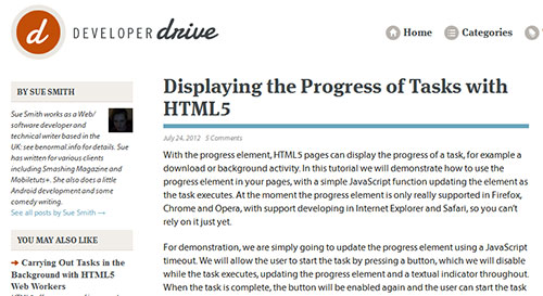 Displaying the Progress of Tasks with HTML5