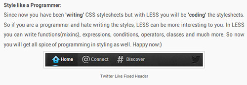 Twitter like Fixed Header Using LESS CSS Preprocessor