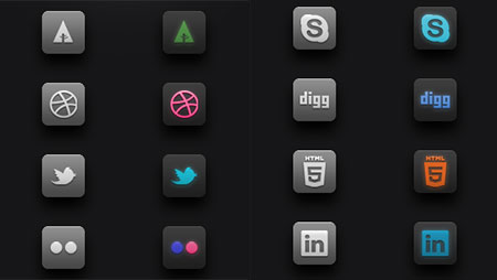Dark Glow Social Icons