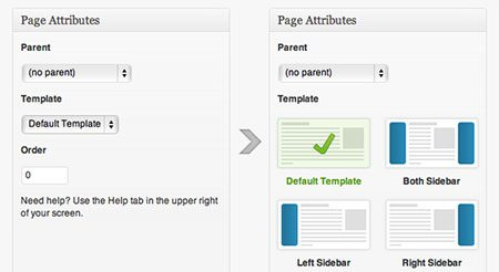Visualize page template select in WordPress
