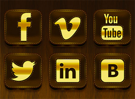 Social Icons Gold by Alexandr Nohrin