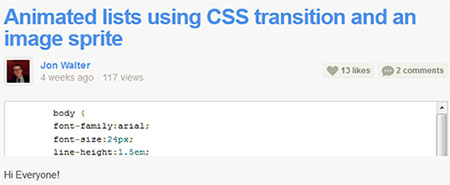Animated lists using CSS transition and an image sprite