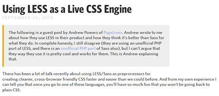 Using LESS as a Live CSS Engine