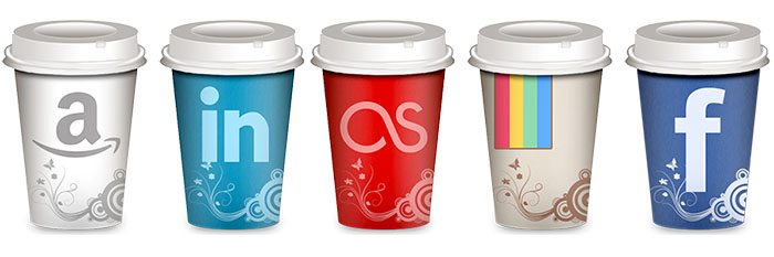 Takeout coffee cup social icons