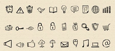 30 Hand-Drawn Icons And Photoshop Shapes