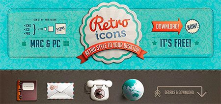 A set of 4 icons for retro theme