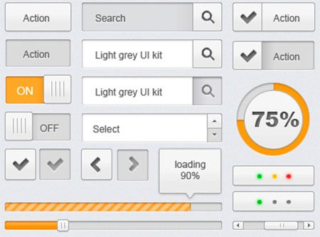 light grey UI kit by Davide Baratta