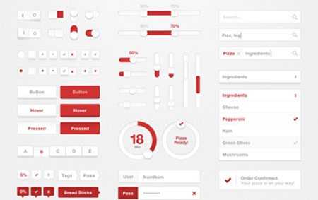 """""""Pizza"""" UI Kit by Boris Valusek"""