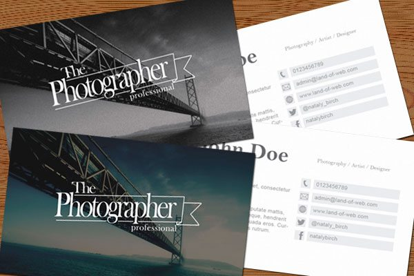 Photographic Business Card PSD Template preview