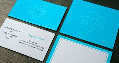 Culinaria business and place card.