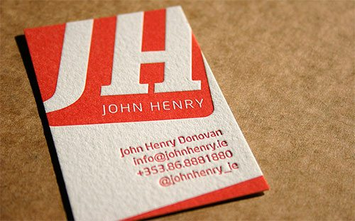 Deep Red Letterpress Business Card