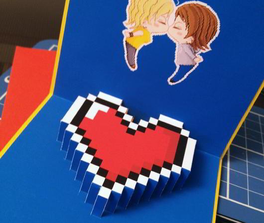 Valentine's Day pixel popup card by Gershom Charig