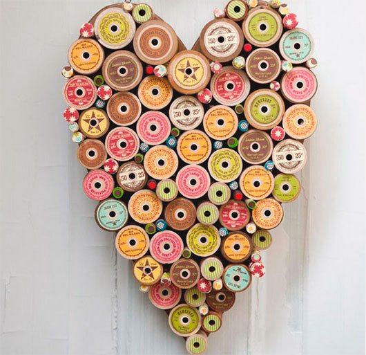 Heart Spools Valentine Plaque