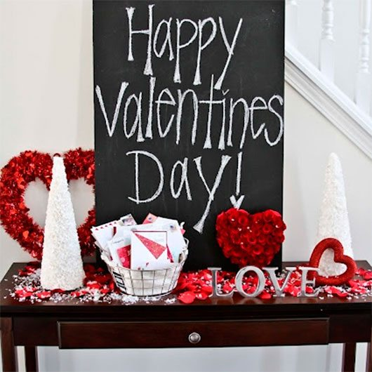Valentines Day decor - front entry way