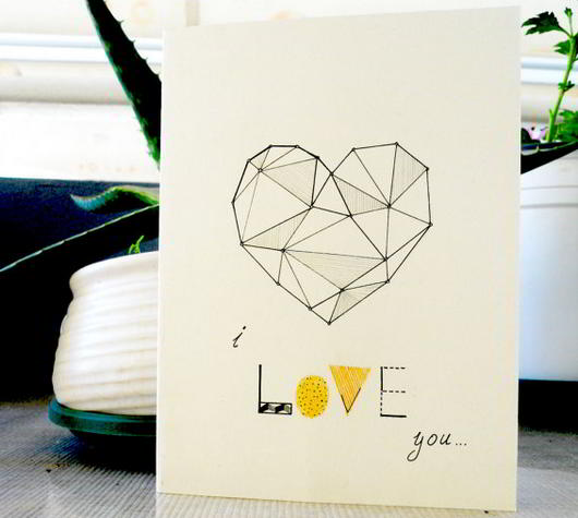 Hand drawn Geometrical Valentine Card