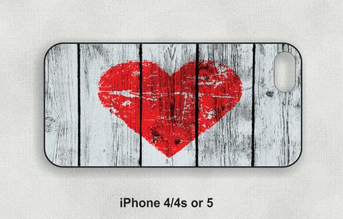 Red Heart on Wood planks