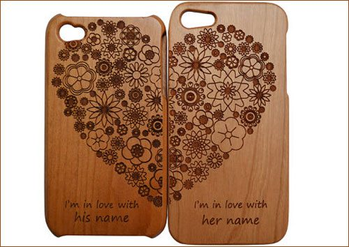 Personalized pair of Valentine's Day wood iPhone