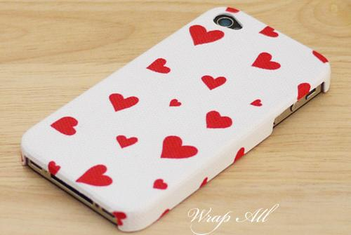 Red hearts iPhone 4 case