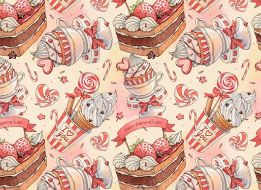 happy Valentine's Day patterns Natalia Tyulkina