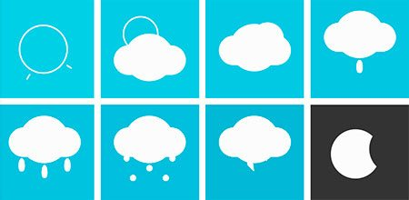 Animated single element responsive (CSS) weather icons