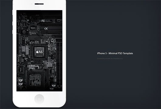 Minimal iPhone 5 PSD - Free Template (Updated) by Jakub Kejha