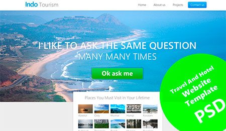 Beautiful Travel and Hotel Website Template PSD