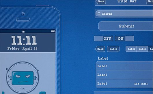 iPhone Blueprint Wireframe Kit -FreePSD by Jd Uchima