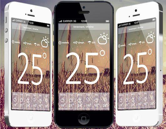 Freebie: iPhone Weather App PSD
