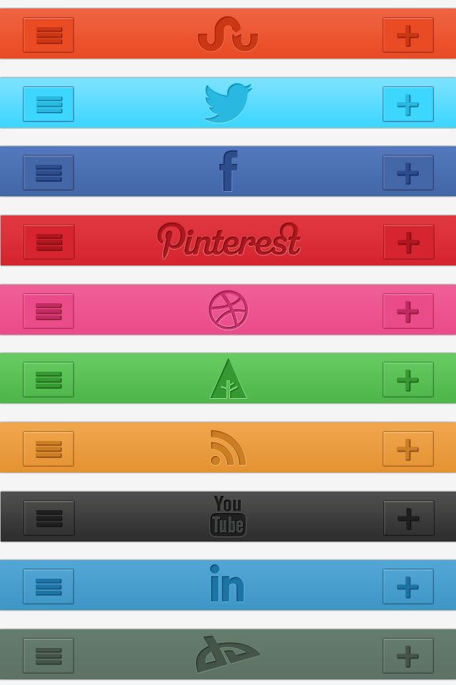 Freebie: Social Media Retina Navigation Bars preview