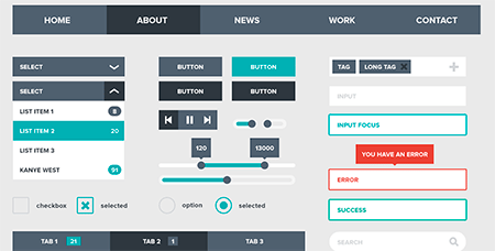 Flat UI Kit (Free PSD) by Devin Schulz