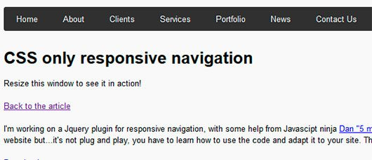 CSS only responsive navigation