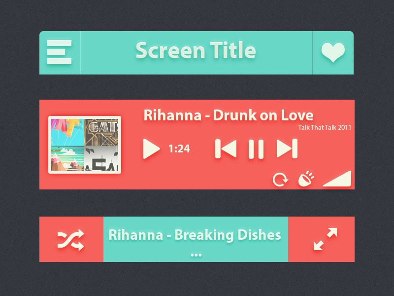 Vibrant Music iPhone App UI