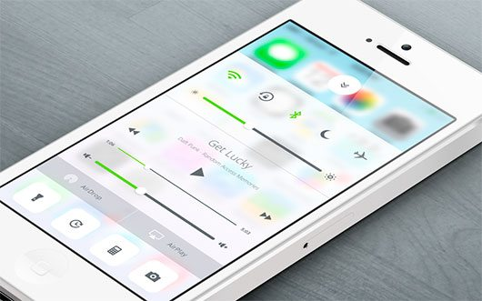 iOS 7 Control Center Redesign by Sam Joonas Nissinen