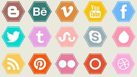 Hexagonal Vibrant Flat Social Media Icons