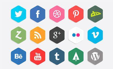 Vector Polygon Social Media Icons by LunarPixel