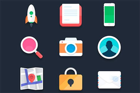 Flat icons (PSD) #2 by Pierre Borodin