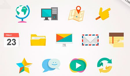 Flat Jewels Icon Set