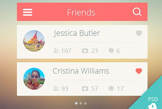 Friends list UI (Free PSD) by Nicolas Mata