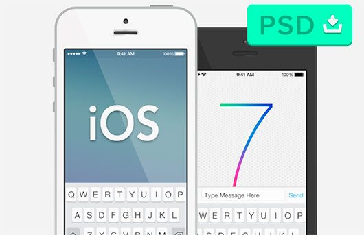 "iOS 7 & ""Semi-Flat"" iPhone 5 Mockup by Cindy Chen"