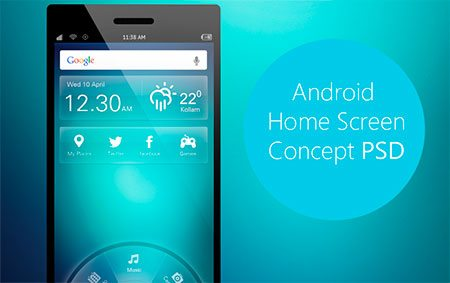 Android Home Screen Concept PSD