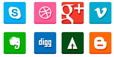 Simple Flat Social Media Icons