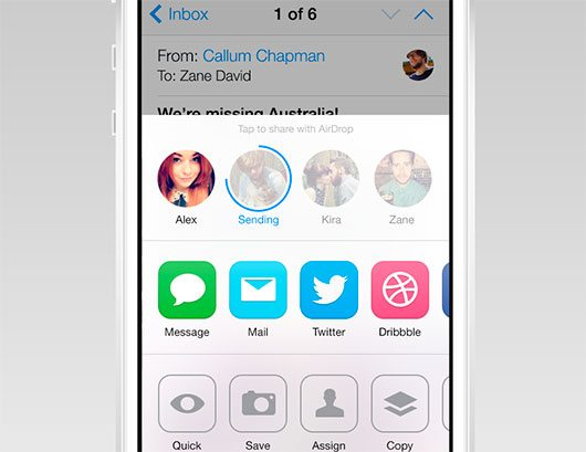 iOS7 AirDrop/Share Redesign by Zane David