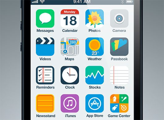 iPhone Flat UI Concept by Anton Kovalev