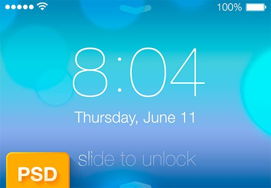 iOS 7 Lock Screen PSD by Alexander Stotskii