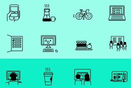 Day in the Life Icon Set by Ainsley Wagoner