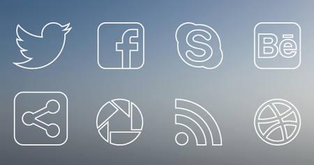 Social Media thin icon set by Marta Rodriguez